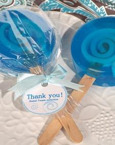 Sweet treats blue lollipop soap favor. #wedding www.BlueRainbowDesign.com