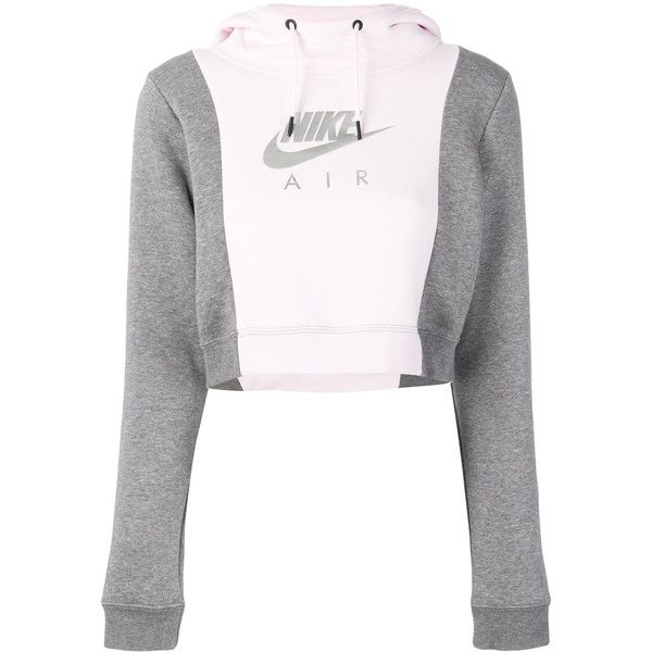 Nike Sportswear Hoodie ($64) ❤ liked on Polyvore featuring tops, hoodies, grey, slim hoodie, hooded sweatshirt, nike hoodie, nike and long sleeve tops