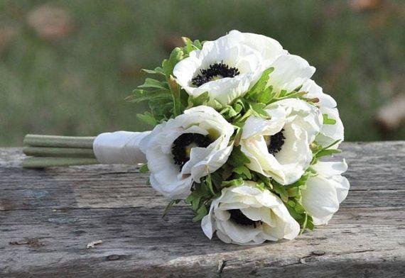 Wedding Flowers, Wedding Bouquet, Keepsake Bouquet, Bridal Bouquet Small ivory anemone wedding bouquet, perfect for bridesmaids