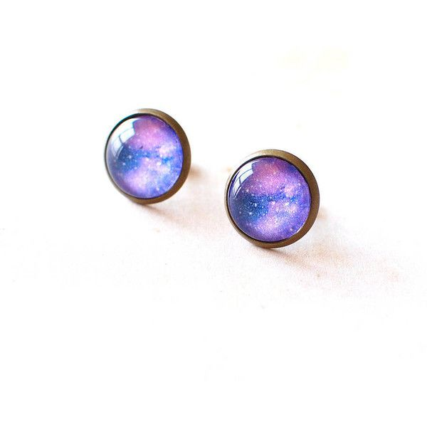Juju Treasures Purple Galaxy Earrings found on Polyvore featuring jewelry, earrings, accessories, earrings jewellery, galaxy earrings, earring jewelry, purple jewelry and purple jewellery