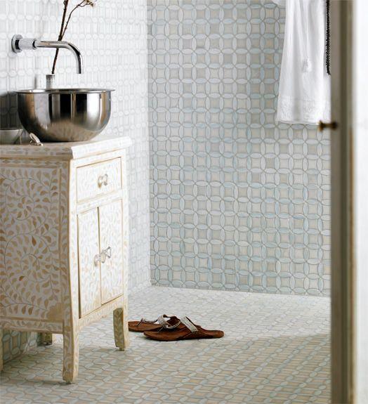 Moroccan Style Tiles And Bone Inlay Vanity.