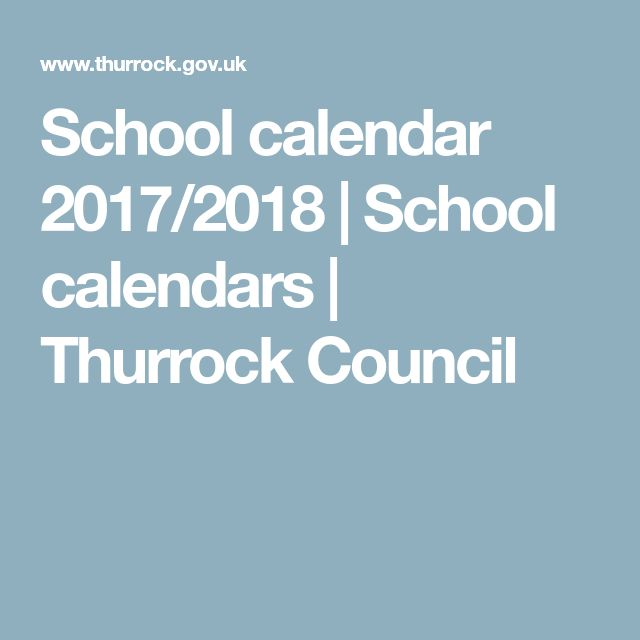 School calendar 2017/2018 | School calendars | Thurrock Council