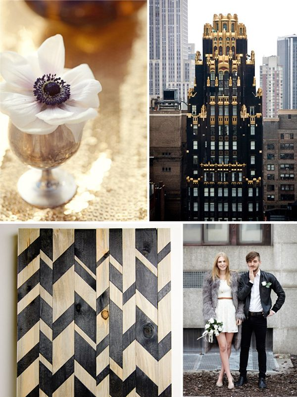 Rooftop wedding inspiration // colors: gold, cement, white and black and pops of yellow: