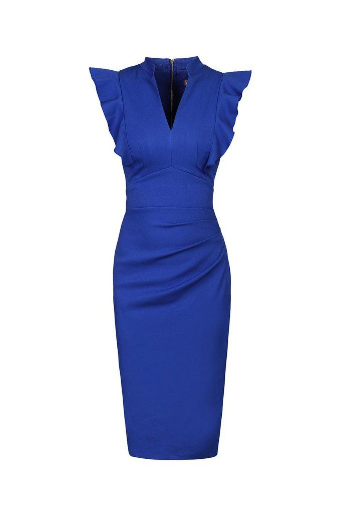 Royal Blue Ruffle Shoulder Bodycon Pencil Dress