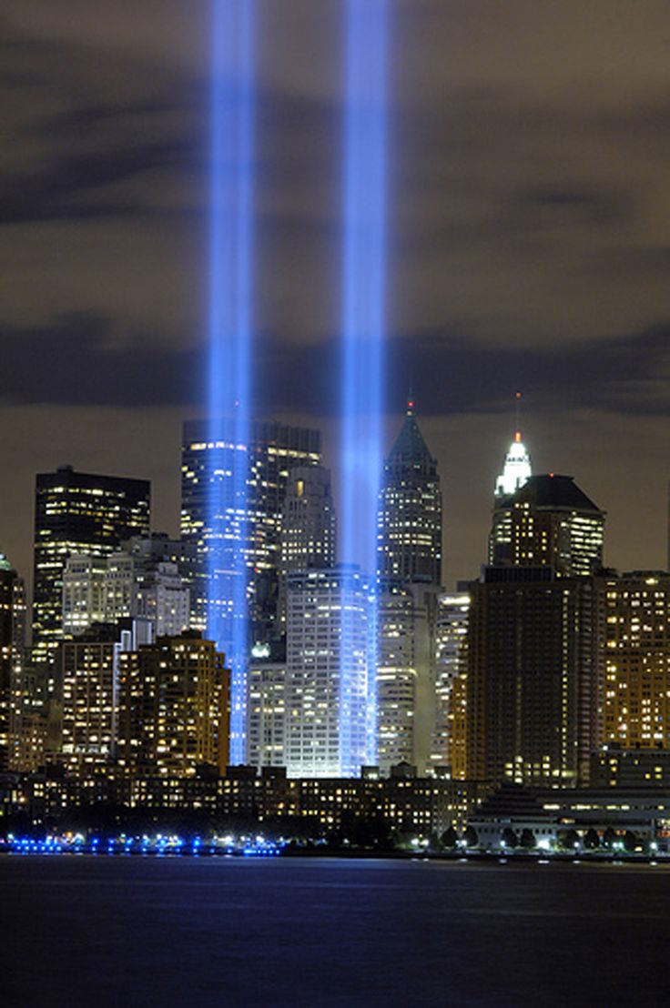 Tribute in light memorial 911 at ground zero in new york