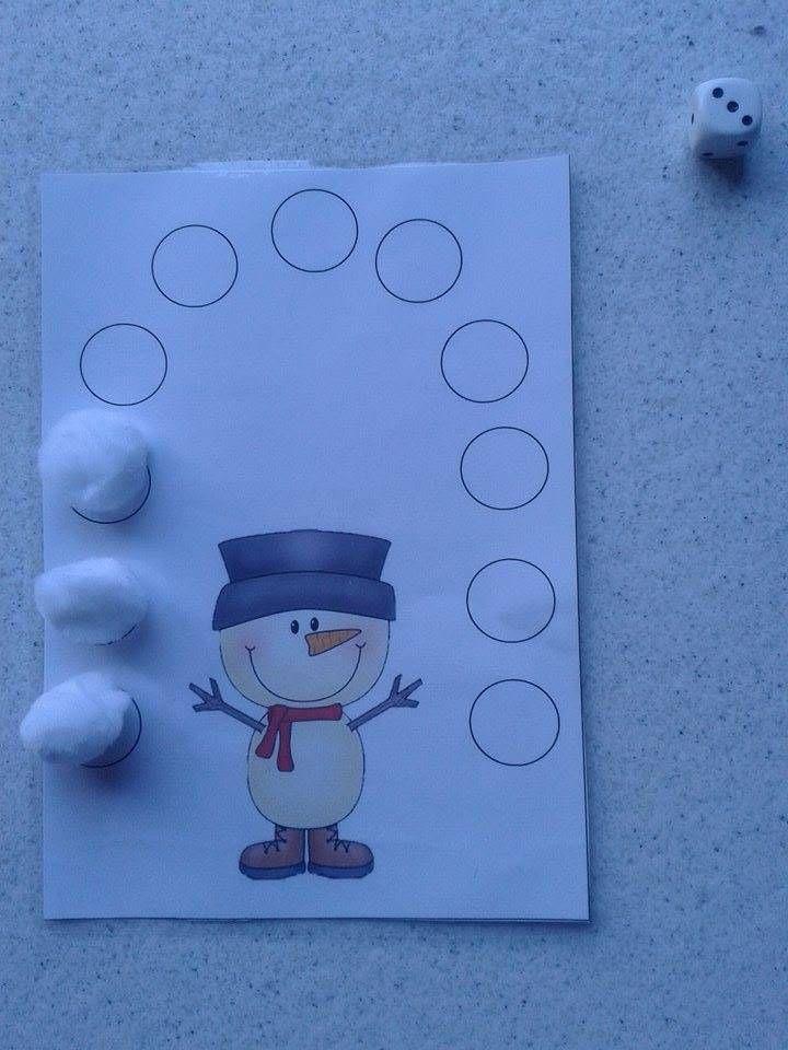 Thema winter: dobbel mee met de sneeuwman! geef de sneeuwman zijn sneeuwballen dobbelspel 2kk