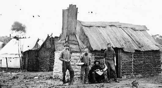 Early Australian settlers bush huts and homes