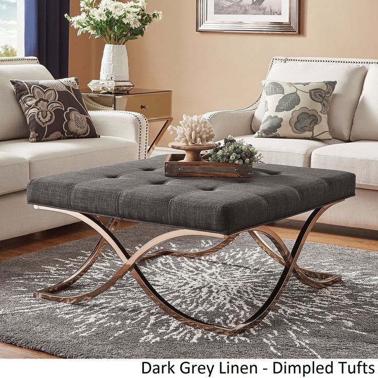 Solene X Base Square Ottoman Coffee Table - Champagne Gold by Inspire Q ([Dark Grey Linen]- Dimpled Tufts), Black