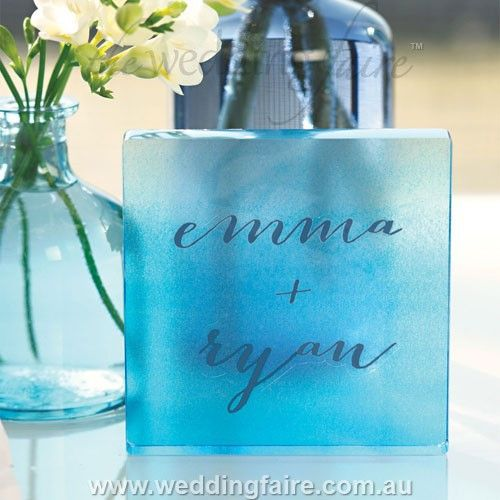 Aqueous Personalised Clear Acrylic Block Cake Topper - Caribbean Blue - The Wedding Faire