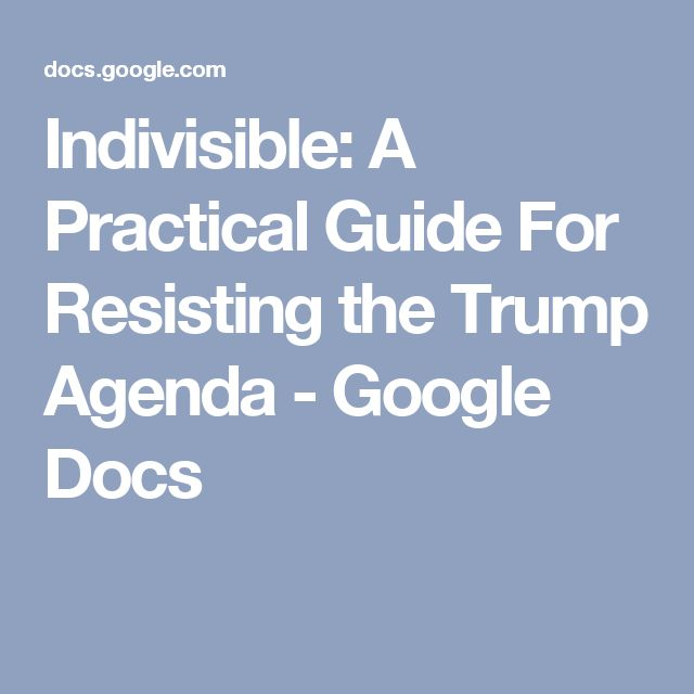 Indivisible: A Practical Guide For Resisting the Trump Agenda - Google Docs