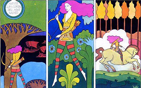 """Miguel Calatayud, premio nacional de ilustración. No lo conozco hace mucho pero me encanta su estilo, esta tira de """"Los doce trabajos de Hércules"""" de 1973 me recuerda mucho a la obra de Heinz Edelmann."""
