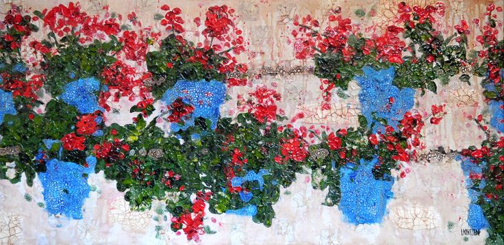 Flowers on a wall in Cordoba, Mixed media on canvas, 24 x 48 inches
