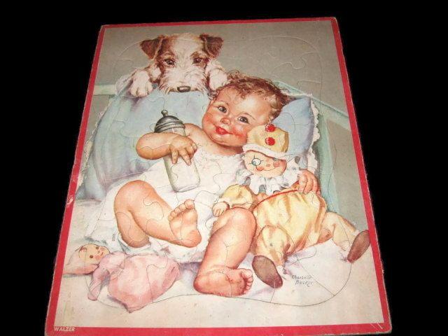 Vintage Inlay Puzzle, Baby Puzzle, Collectible, Vintage Toy, Walzer Puzzle