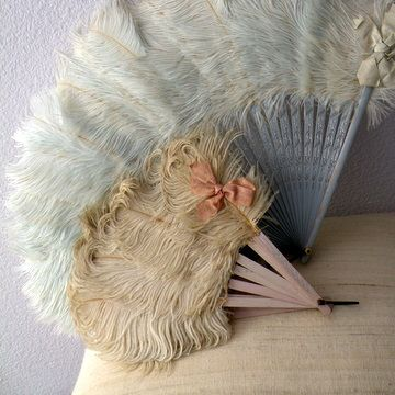 vintage feather fans but we could transform cheap ones with our hen feathers