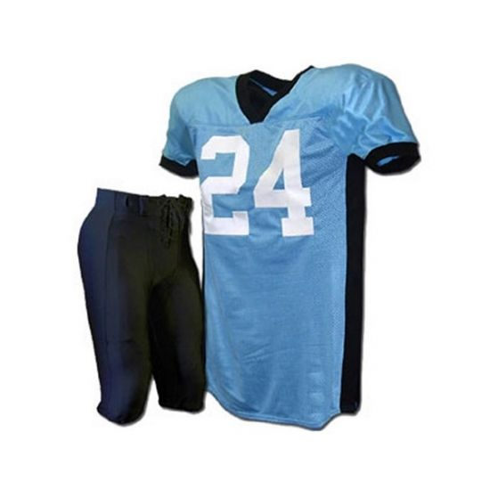 American Football Uniforms:- SKU: SSW-12704 Our Football Uniforms made of using below materials:- . - Made of 100%Polyester - 220gsm dazzle and mesh fabrics - weight: 220gsn.280gsm.300gsm.370gsm - spandex side panel and V Neck - Pant in heavy weight spandex . - Azo Free Fabric - Tailored fit designed for movement - Tag less neck label - Customized Tackle Twill Work (Logo ,team names and number) - Colorful and quick dry, no fading, no washing out - Each in a poly bag,25 pcs in a carton…