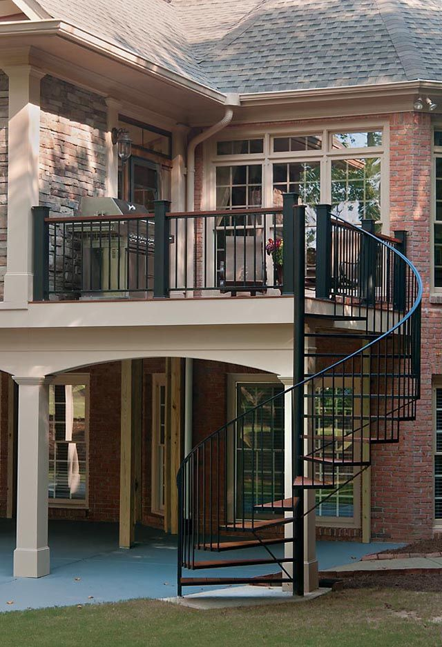 exterior spiral stairs add a modern flair to your multilevel deck or outdoor room project we specialize in graceful spiral stairs that wow your guests - Outdoor Spiral Staircase