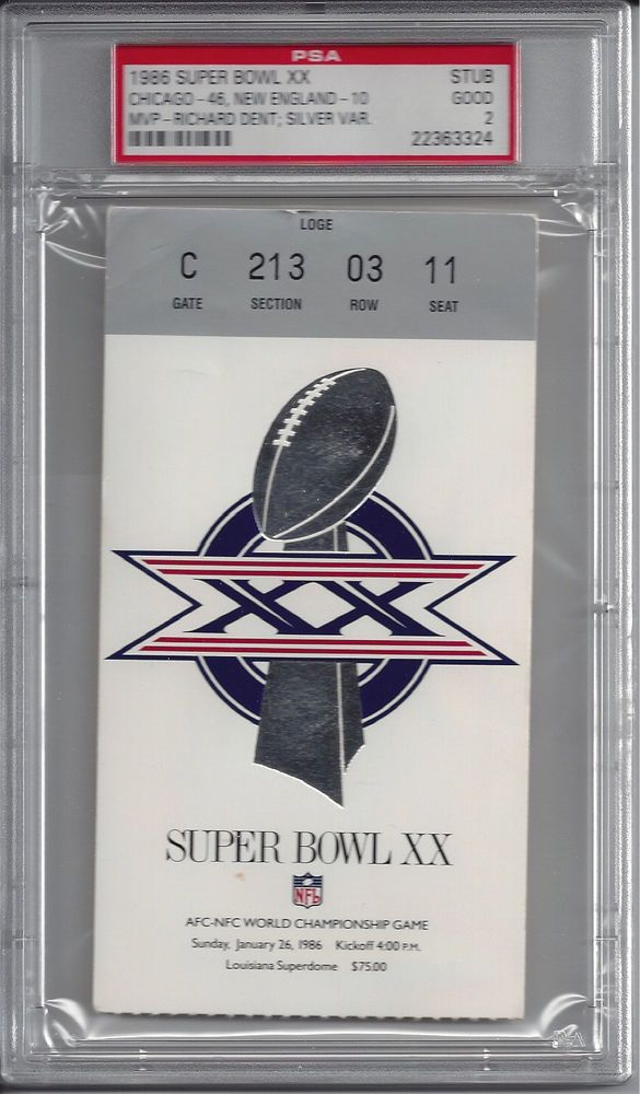 1986 SUPER BOWL XX Chicago Bears vs New England Patriots