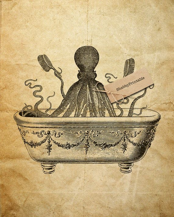 Printable Image Tentacles Octopus Bathroom Bath by DreamPrintable