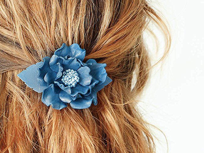 Blue leather flower small french barrette, hair clip, boho, unique gift for her, Birthday gift