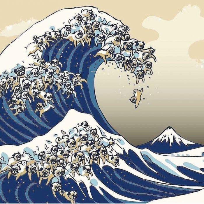 The great wave of Pugs Waves wallpaper, Wave art, Art