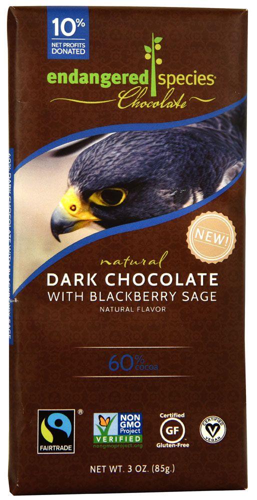 Endangered Species Chocolate Natural 60% Dark Chocolate Bar Blackberry Sage