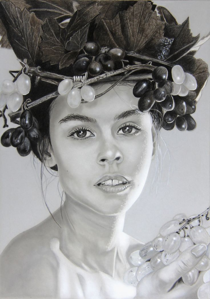 """""""Katrin"""" pencil on paper 410x300mm painting by wilfried ploderer"""