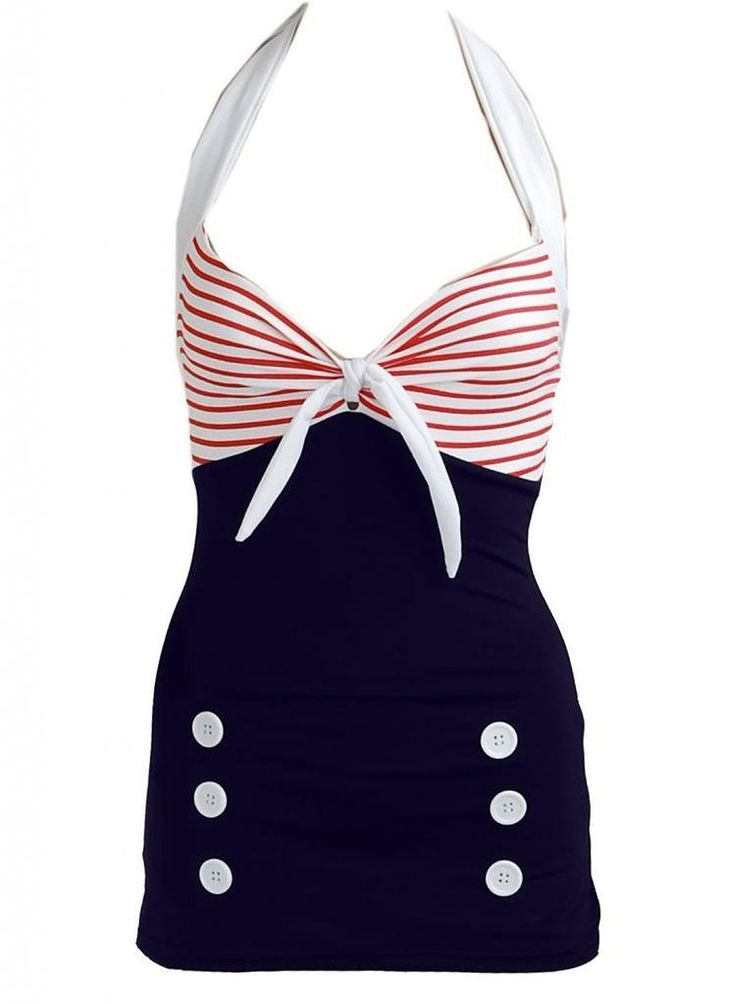 Pinupclothingonline Women's Stripe Retro Sailor Nautical Bathing Suit at Amazon Women's Clothing store: Fashion One Piece Swimsuits up to 2XL