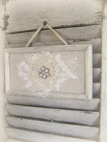 Shabby White Lace Collage Vintage Rhinestone Wall Art Cottage Chic Style Vintage Style Vintage Lace Collage by QueenBe for $18.00