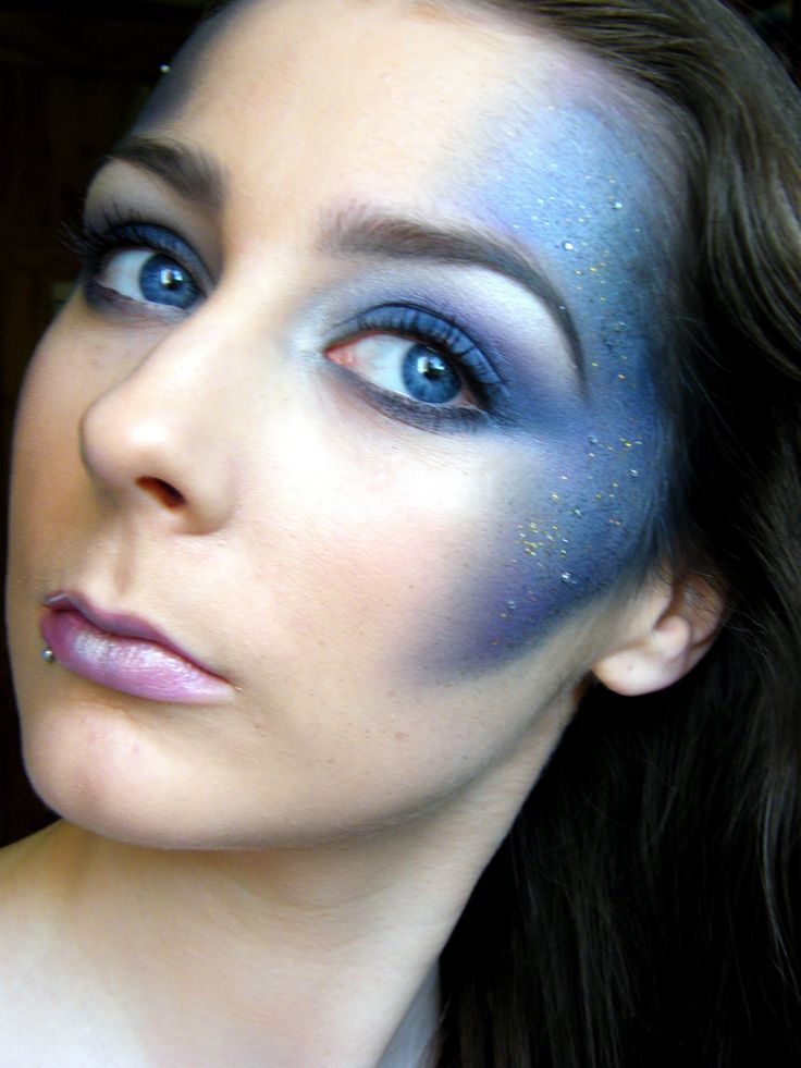 Doctor Who-TARDIS Costume Reference Galaxy Inspired Makeup Tutorial, via YouTube.