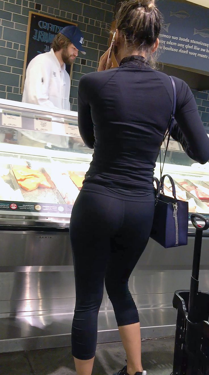 Shiny leggings candid