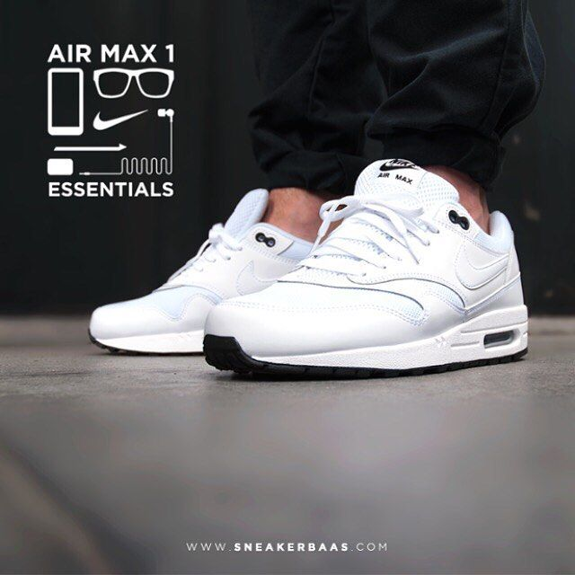 2d3ef3530a sneakerbaas Nike Air Max 1 Essential - This new Air Max 1 edition is made  from mesh and leather in white with a black sole.
