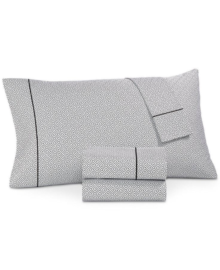 Hotel Collection Greek Key 525 TC Cotton 4 Piece Black & White Queen Sheet Set  #HotelCollection #Modern