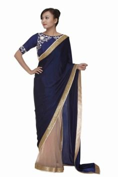 Shruti Seth ,  saree , sari  , sangeet , mehendi , reception , roka , engagement , dark blue , jewel tone , cream , raw silk , net , floral , motifs , embroidery , elegant , royal , destination wedding