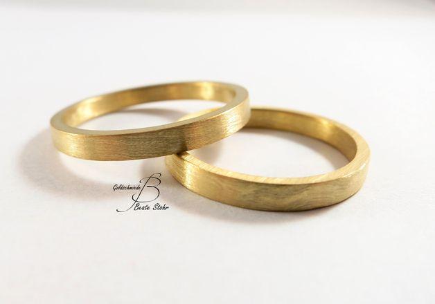 trauringe schlicht gold 585 handarbeit eheringe trauringe schlicht ...