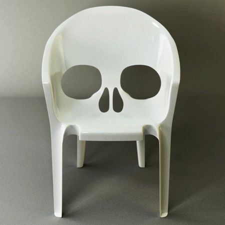 "Uncredited plastic stacking skull chair, entitled ""Remember that thou shalt die"""