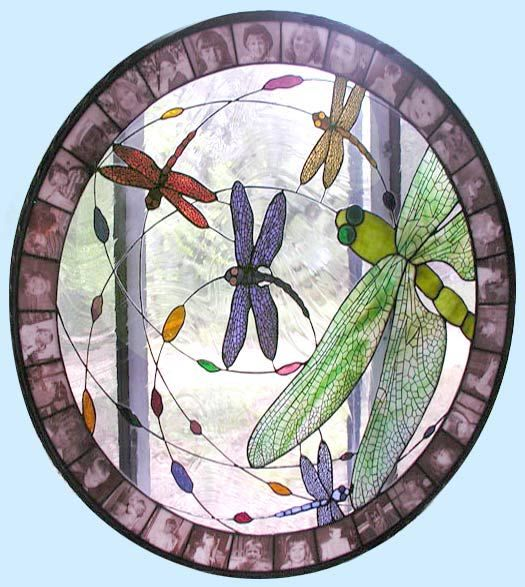dragonflies dance stained glass window  http://www.glass-by-design.com/dragonflies.htm