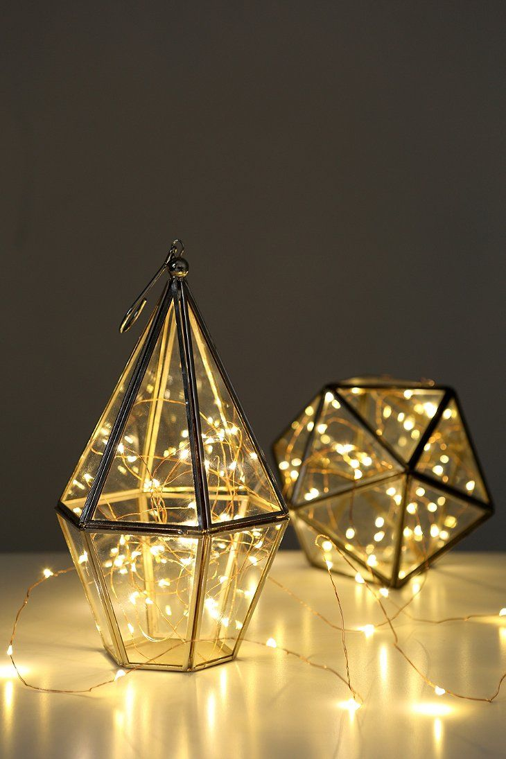 Firefly String Lights in terrarium as random aisle lighting? This could be great scattered throughout the ceremony space and the reception too!