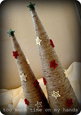 Easy and Thrifty Christmas Decorations @Too Much Time: Styrofoam tree shape, jute, a package of holiday craft ornaments -all from Hobby Lobby. I wrapped those suckers with jute and hot glued as I went. Then I hot glued the little stars all over them. Hope everyone is having a nice weekend...and that you linked up all of your fun projects from this week at my second linky party..