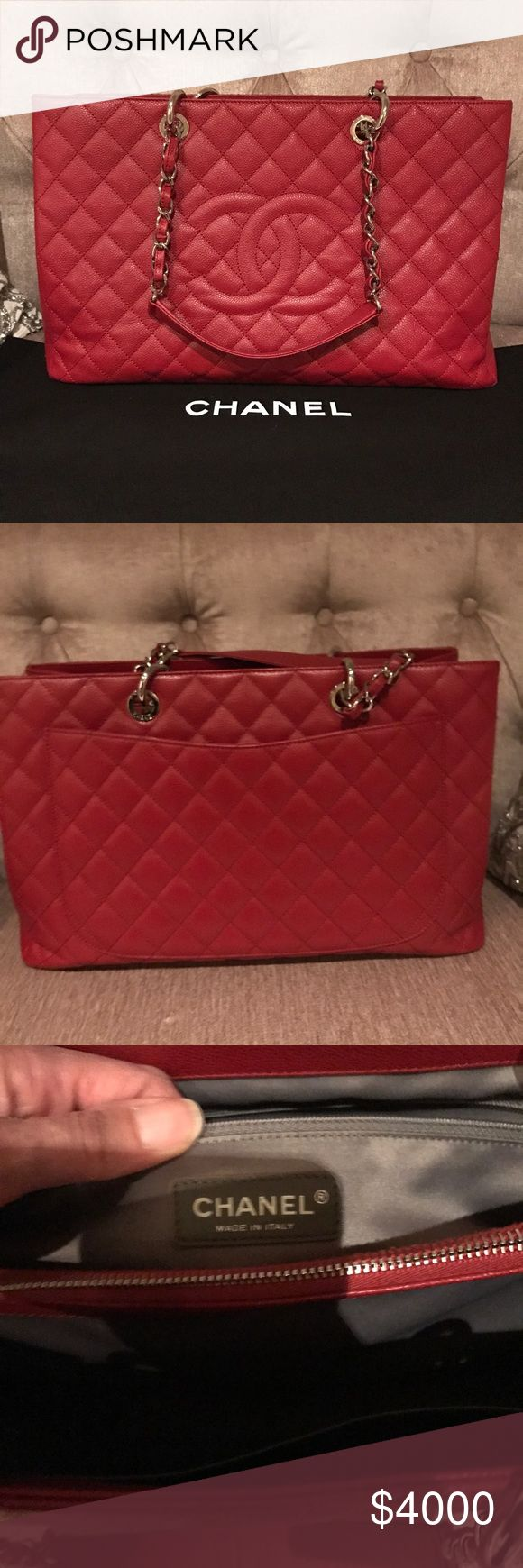 AUTHENTIC Chanel GST XL LIPSTICK RED 💄CHANEL GST XL-DISONTINUED! Great condition! No stains or pen marks! Minor rubbing on corner. Comes with dust bag. I will send additional pics via email to interested buyers.. MUST have buying and/or selling history!!! CHANEL Bags Shoulder Bags