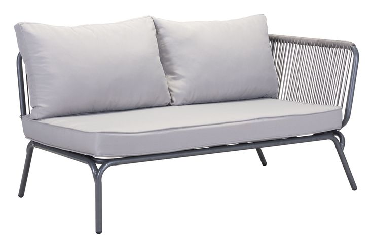 Pier Outdoor Right Arm Facing Double Seat Sectional Sofa Unit in Gray Aluminum & Fabric
