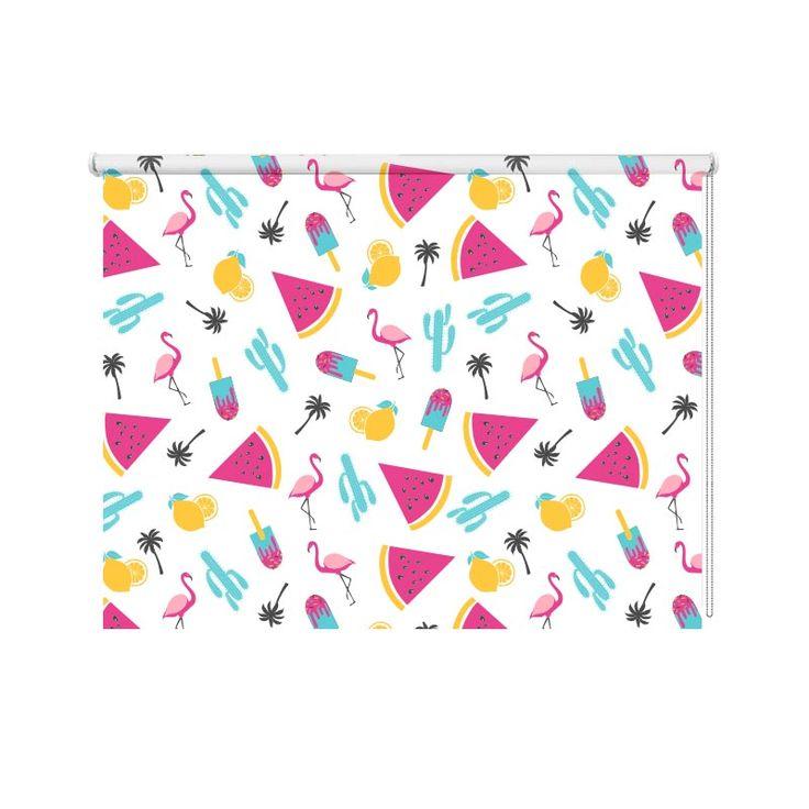 Rolgordijn Flamingo patroon 5 | Met dit rolgordijn een bijzondere raamdecoratie in huis. Je kunt zelf de maten aangeven. YouPri maakt het rolgordijn speciaal voor jou op maat. Dit rolgordijn is daardoor geschikt voor ieder interieur! #rolgordijn #opmaat #maatwerk #bedrukt #print #fotoprint #lichtdoorlatend #verduisterend #dubbelzijdig #flamingo #dieren #vogels #meloen #vrolijk #tropisch #patroon #illustratie #meisjeskamer #tiener #tienerkamer #meisjes