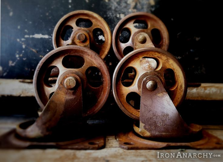 Antique Factory Cart Casters For An Industrial Pallet Coffee Table. From  IronAnarchy.com