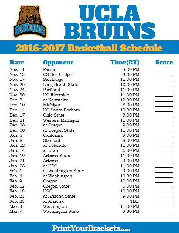 UCLA Bruins 2016-2017 College Basketball Schedule