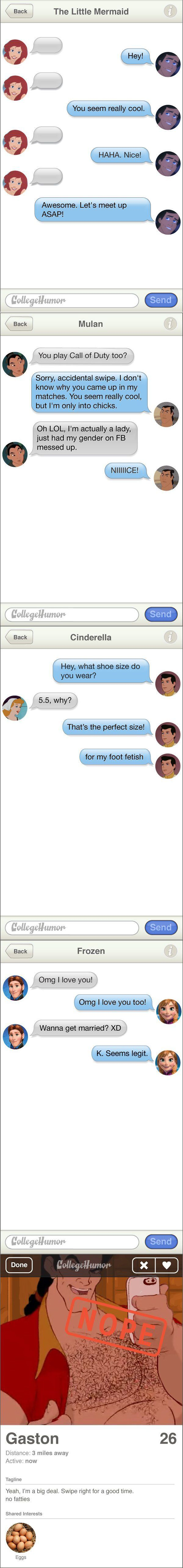 If Disney Princesses Met Their Princes on Tinder. The foot fetish one!
