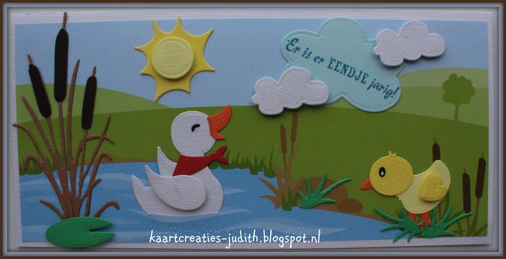 Marianne Design AK0066 Eline's Backgrounds LR0409 Tiny's Cattails CR1402 Bendy card COL1426 Eline's cow (gras) COL1428 Eline's duck family CS0985 Eendje voor jou