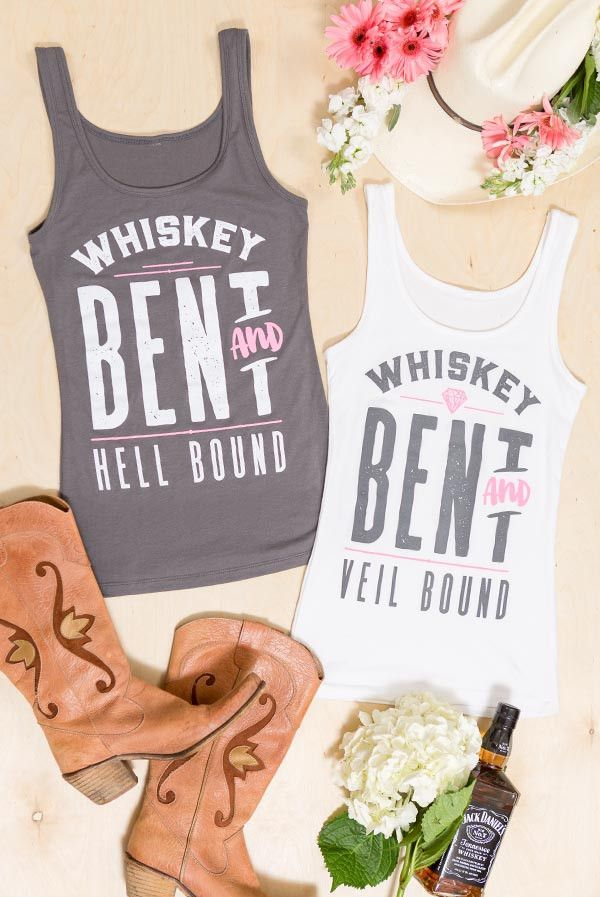 Fun and flirty Whiskey Bent and Veil bound summery country bachelorette party shirts! Perfect for a Nashville Bachelorette!