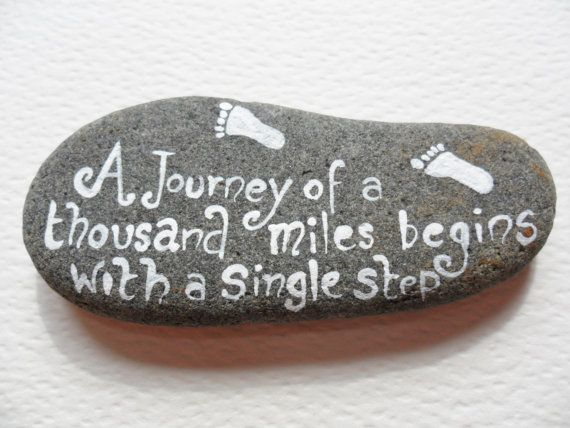 Pocket pebble Inspirational quote hand by ShePaintsSeaglass, $19.00