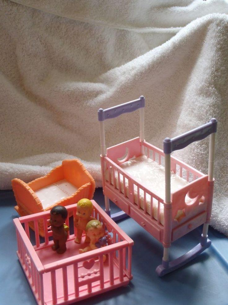 BARBIE DOLL CRIB , Playpen, Cradle, BABY NURSERY FURNITURE  & 3 Babies , LOT