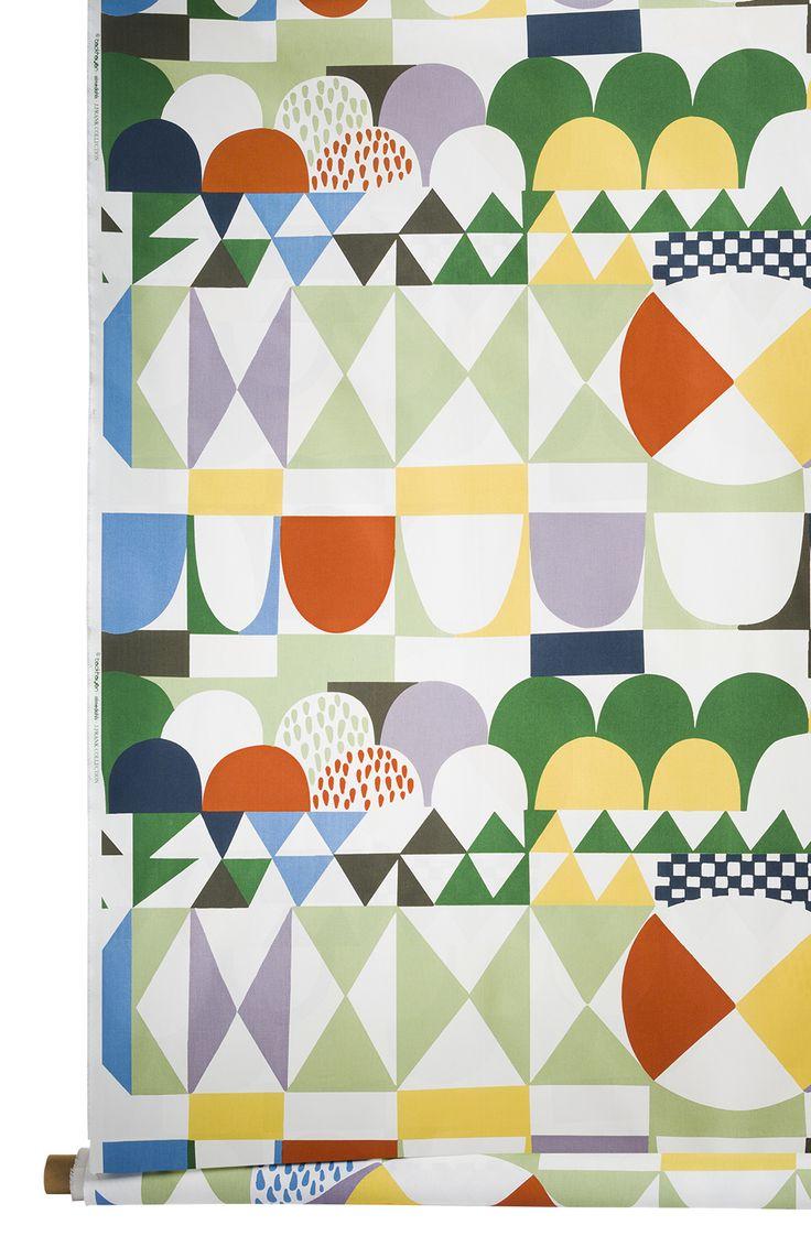 Josef Frankin suunnittelemalla Bows-kuosilla saa aikaan todella lystikkään kokonaisuuden. Almedahls Eurokangas