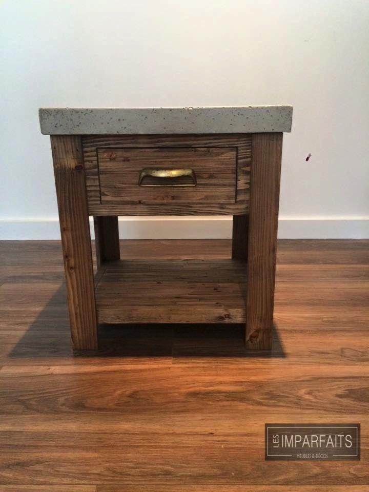 Table de chevet  bois recyclé et béton brut #LesImparfaits